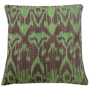 Home Décor Verde Funda de almohada 40 cm 100 % Algodón Kantha Resumen Imprimir Cojín Indian Art Gift 16 pulgadas