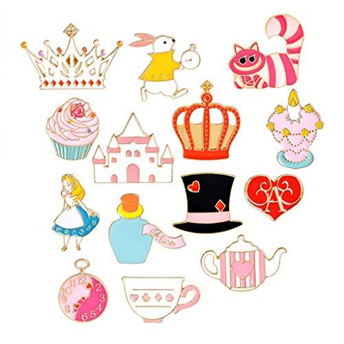 - MJartoria Car Flamingo Alpaca Novelty Cartoon Enamel Brooch Pin Set of 11 (Magic hat)