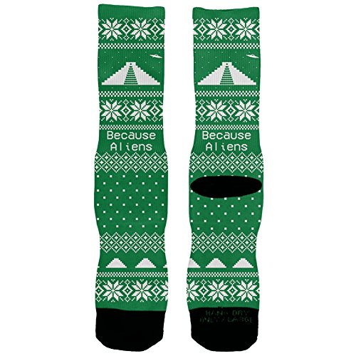 Aliens Ugly Christmas Sweater Socks
