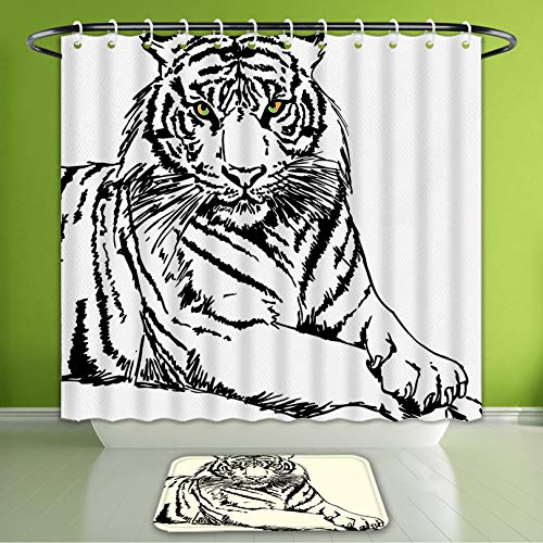 Waterproof Shower Curtain and Bath Rug Set Safari Decor Sketch of A Posing Tiger Bright Eyes Largest Cat Species Dark Vert Bath Curtain and Doormat Suit for Bathroom Extra Long Size 72