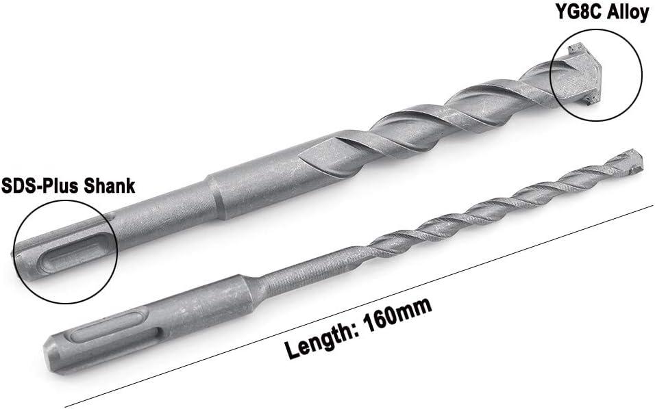 12 mm 6 mm 8 mm Yuhtech 10 mm 16 mm 14 mm Set di 6 punte da trapano per martello elettrico SDS-Plus