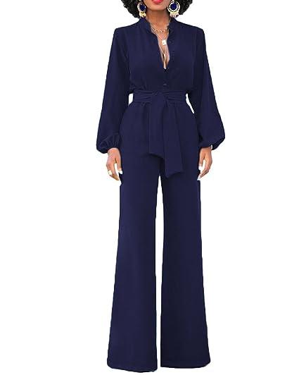 ShiFan Rompers Tuta Elegante Pantaloni Lungo Jumpsuit Vestito Abito  Cerimonia da Donna Blu Marino S da5b71e98809