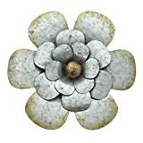 PierSurplus 14 in. Metal Rustic Silver Flower Wall Art Product SKU: HD221401