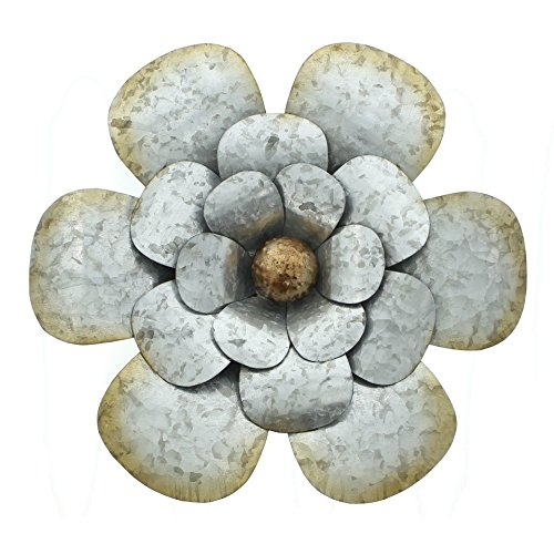 PierSurplus 14 in. Metal Rustic Silver Flower Wall Art Product SKU: HD221401
