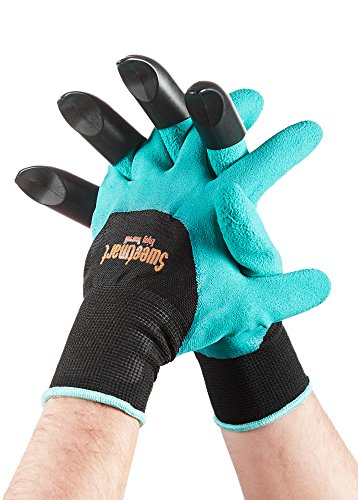 Garden Genie Gloves by Sweetmart with Fingertips Claws on right Hand, for Digging and Planting, Safe for Rose Pruning, for Quick And Easy Gardering