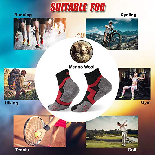 Low Cut Cycling Socks, ZEALWOOD High Performance 3 Pairs Ankle Athletic Running Cushion Sports Socks for Men & Women, 3 Pairs-Black Red Grey by ZEALWOOD (Image #6)