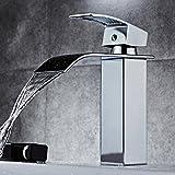 Waterfall Basin Sink Mixer Tap Bathroom Lever Single Handle Chrome Leadless Brass Faucet (SLT03)