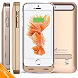 iPhone 5 / 5S Battery Case, iPhone SE Battery Case, Alpatronix BX120 2400mAh Protective Portable Rechargeable External Charging Case for iPhone 5, 5S and SE Juice Pack Power Bank [MFi Certified, Slim, iOS 10+ Support or Below] - Gold