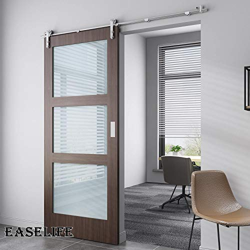 EaseLife 6 FT Stainless Steel Sliding Barn Door Hardware Track Kit - Heavy Duty - Anti-Rust Anti-Corrasion - Slide Smooth Quiet - Easy Install- Fit 30''~36'' Wide Door - 6FT Track Single Door Kit by EaseLife (Image #1)