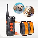 Training Dog Collar - Aetertek® AT-918C-2 Updated & Submersible Dog Training Shock Collar Rechargeable Dog Collar with 600 Yards Remote Range (For 2 dogs)