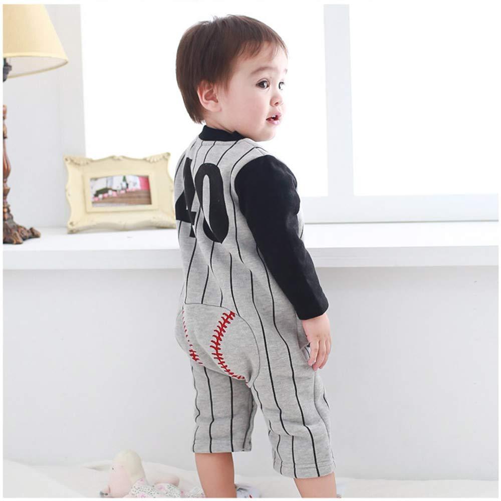 AIKSSOO Infant Baby Unisex Cotton Romper Outfit Stripe Baseball Sleeper Pajamas