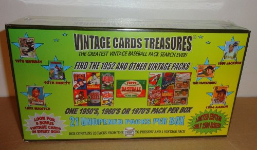 VINTAGE CARDS TREASURES 2013 Find The 1952 Topps Pack and Other Vintage Packs Limited Edtion Baseball Chase Box! Search for Mantle, Aaron, Ryan, Bench, Schimdt, and Many More.