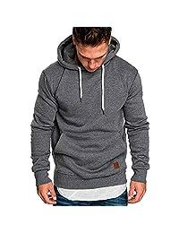 Pervobs Men's Long Sleeve Autumn Pocket Loose Casual Sweatshirt Hoodies Tracksuits