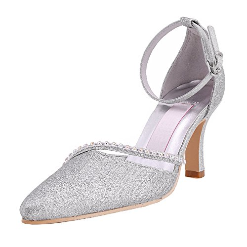 Minishion Gymz702 Femmes Strappy Glitter Soirée Parti Bal Mariage Chaussures De Mariage Pompes Sandales Flatfs Argent-9cm Talon