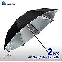 LimoStudio Case of 2, 40 Double Layer Black & Silver Photo Studio Umbrella Photo Video Reflector, LMS127