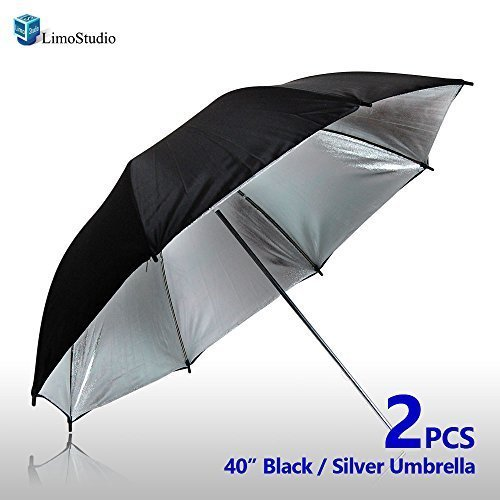 LimoStudio Case of 2, 40'' Double Layer Black & Silver Photo Studio Umbrella Photo Video Reflector, LMS127 by LimoStudio