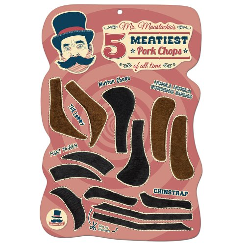 Mr. Moustachios Five Meatiest Pork Chops of All Time, Fake Sideburn Costume Party Assortment