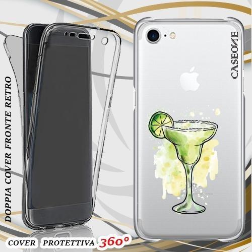 CUSTODIA COVER CASE DRINK SUMMER COCKTAIL PER IPHONE 7 FRONT BACK TRASPARENTE