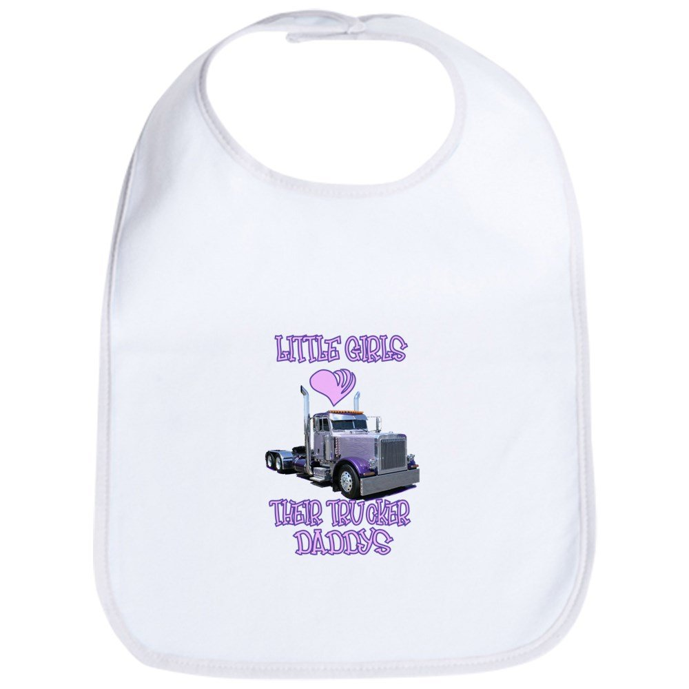 CafePress - Little Girls Love Their Trucker Daddys Bib - Cute Cloth Baby Bib, Toddler Bib