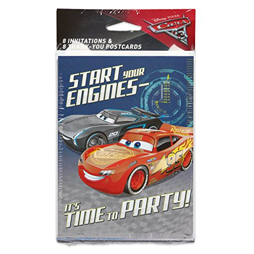 (Designware Cars 3 8 Pack Invitation Thank You, Invite/Thank You Combo,)
