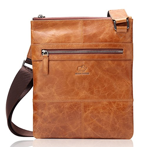 Denim Leather Satchel (BISON DENIM Genuine Leather Cross Body Messenger Bag Satchel Sling Bag Shoulder Bags Brown)