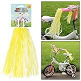 AMOS Bicycle Bike Streamers Cycle Tricycle Trike Scooter Kids Girls Childrens Handlebar Grips Sparkle Retro Pom Pom Tassels Ribbons 2 Pack (Sunshine)