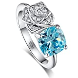 Merthus Womens 925 Sterling Silver Created Blue Topaz Flower Promise Ring