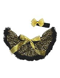 Black Gold Sequin Dress Newborn Baby Skirt Tutu Girl Clothing 2pc Set Nb-12m