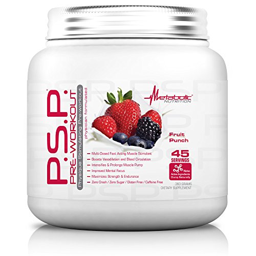 (Metabolic Nutrition, PSP, Physique Enhancing Pre Workout Powder, Pre Intra Workout, Increase Muscle Pump, Stimulant Free Workout Supplement, Fruit Punch, 360 grams (45 servings))