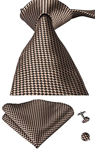 Hi-Tie Mens Brown Plaids Silk Tie Hanky Cufflinks set (Brown)