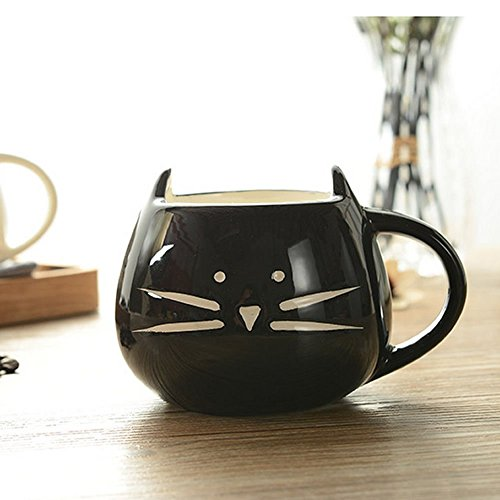 Cute Cat Coffee Milk Tea Drink Ceramic Mug Cup Black Lover Kid Gift