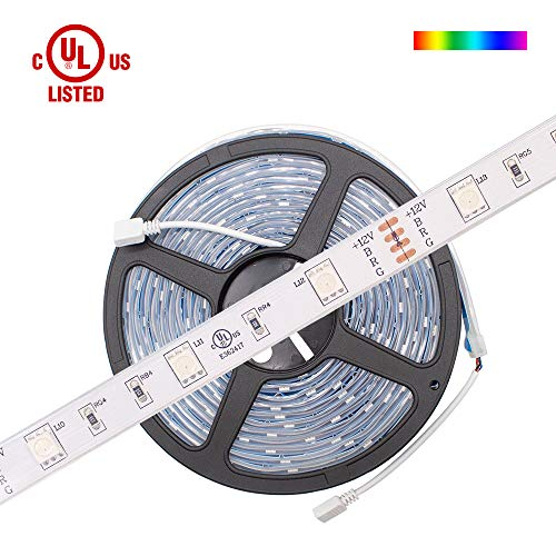HitLights Waterproof Multicolor RGB LED Light Strip, Premium Regular Density 5050-16.4 Feet, 150 LEDs, 12V DC. UL-Listed