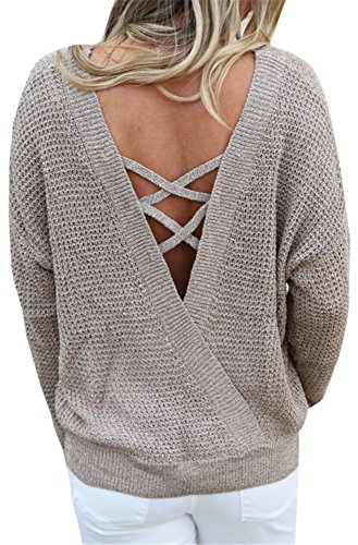 dos Atomene YOGLY Tricots Femme longues Hiver Grande Col Sweater Pullover Top Brun et Casual Manches Sans mode Pullover taille Rond 10aaxrn