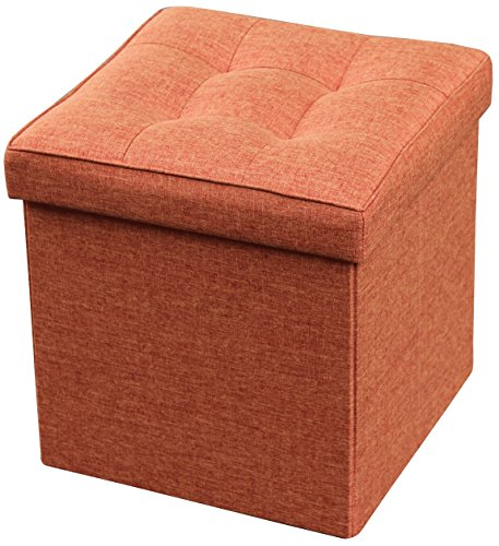 Storage Ottoman Foldable with Square Padded Seat 15 x 15 (Rust)