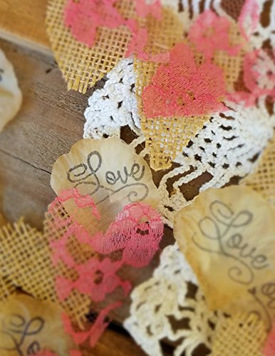 Burlap and Coral Lace Silk Rose Petals, Flower Girl throw, rustic wedding aisle Confetti, table scatter, by Burlap And Bling Design (Coral Wedding Centerpieces)