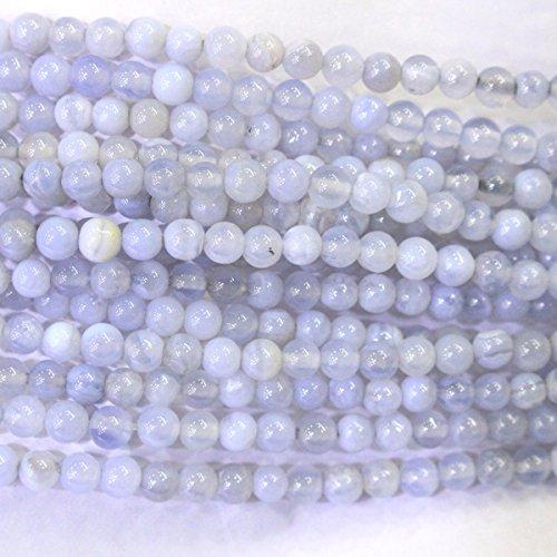Natural Genuine Blue Chalcedony Round Gemstone Jewelry Making Loose Beads (4mm)