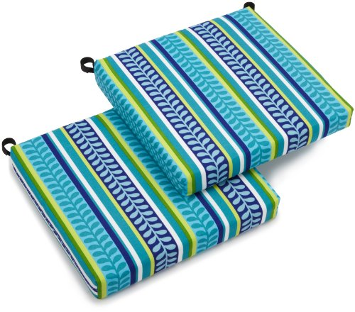 Blazing Needles Outdoor Spun Poly 19-Inch by 20-Inch by 3-1 2-Inch All Weather UV Resistant Zippered Cushions, Pike Azure, Set of 2
