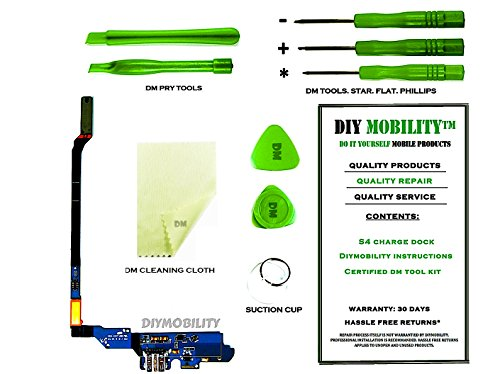 Verizon Mobile Connector - Samsung Galaxy S4 I545 Charge Port Flex Cable Connector PREMIUM Kit with DM Tools, Cleaning Cloth, and Instructions Included (VERIZON) - DIYMOBILITY