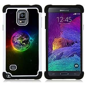 For Samsung Galaxy Note 4 SM-N910 N910 - Earth space planet rainbow stars moon Dual Layer caso de Shell HUELGA Impacto pata de cabra con im??genes gr??ficas Steam - Funny Shop -