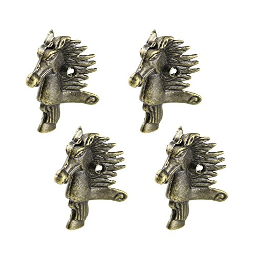 RZDEAL 4Pcs Antique Brass Box Legs Feet Corner Protector Zinc Alloy Horse Head Embossing Decor Jewelry Gift Box Wood Case Vintage(1.1'' x ()