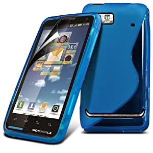Motorola Moto XT615 Baby Blue S Line Wave Gel Case Skin Cover With LCD Screen Protector Guard, Polishing Cloth by Fone-Case