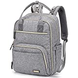 Diaper Bag Backpack, iniuniu Large Multifunction Travel Back Pack Maternity Baby Bags for Mom and Dad with Changing Pad and Stroller Straps, Gray