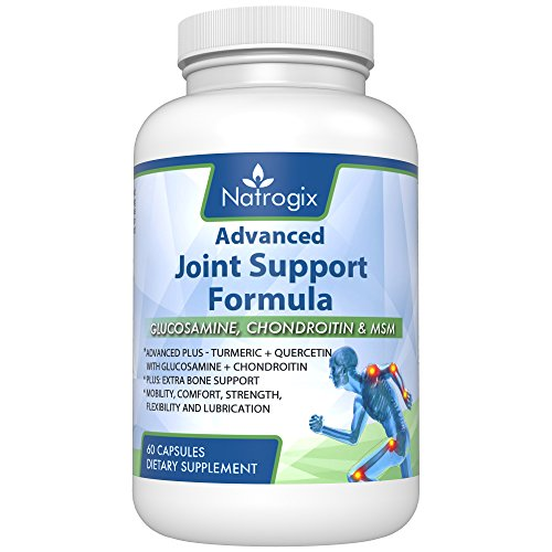 Natrogix 1500mg Glucosamine Advanced Joint Support Formula with MSM, Boswellia Extract, Chondroitin Sulfate, Turmeric, Quercetin, Bromelain + Bone Support (Joint Supplement – Gluten-Free)