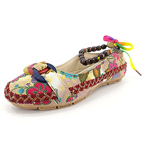 Flats Cloth Shoes Dress Womens Loafers Embroidered Beaded Sweet Apricot Style Susanny Flower Strappy Boho f7Pv7q0