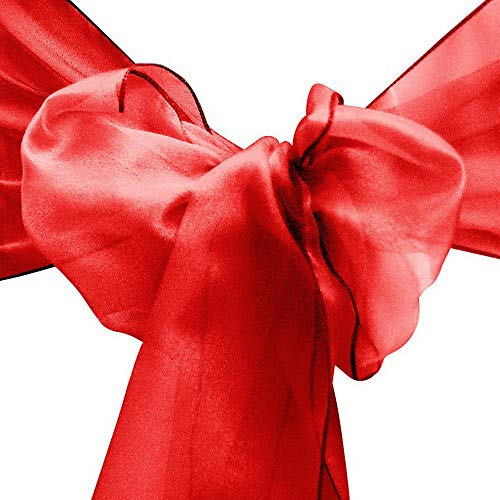 Mikash 10/20/50/100 8x108 Organza Chair Cover Sash Ribbons Bow Wedding Banquet Decor | Model WDDNGDCRTN - 28307 | 20