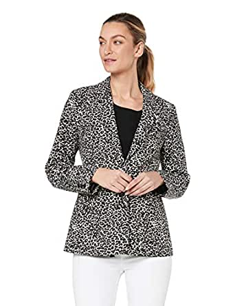 French Connection Women's Animal Print Blazer, Camel/Multi, Eight