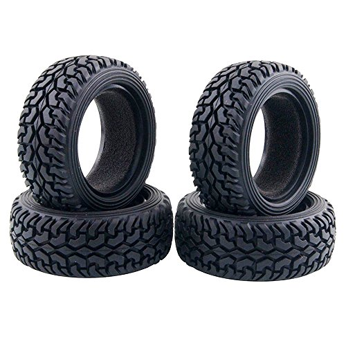 LAFEINA 4PCS High Performance RC Rally Car Grain Rubber Tires for 1:10 RC On Road Car Traxxas Tamiya HSP HPI Kyosho
