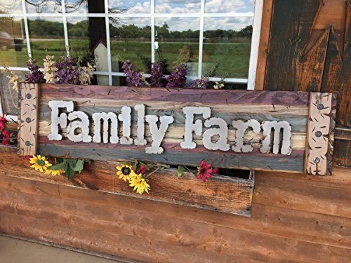 - FAMILY FARM Farmhouse Wall Decor Sign Reclaimed Pallet Shutter BURG Blue HORIZONTAL *Industrial Rustic Metal Lettering *Handcrafted Distressed LARGE Wood Sign *Hang INDOOR or OUTDOOR 58