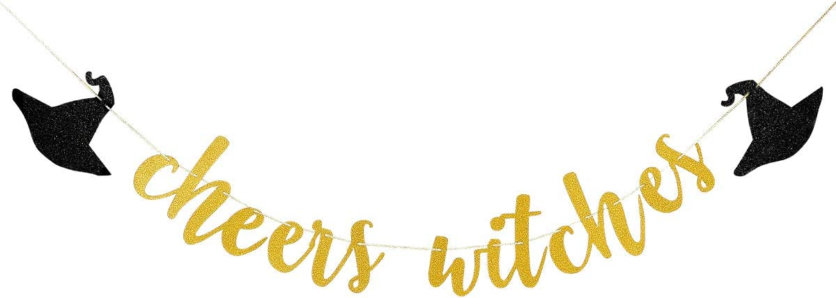 Gold Glittery Cheers Witches Banner- Halloween Party Decorations,Halloween Bachelorette Party Decorations,Bachelorette Party Halloween
