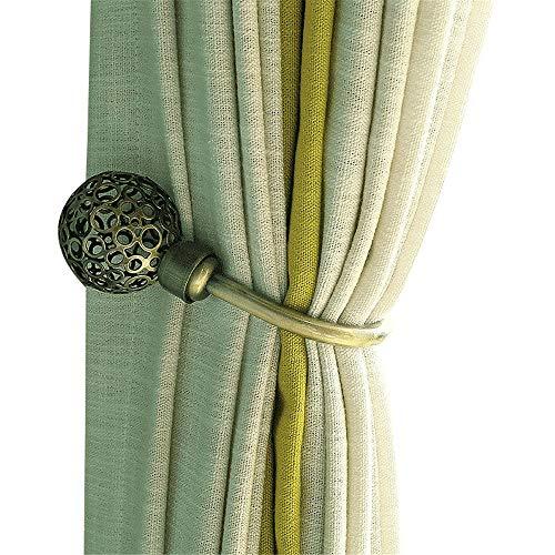 Zorayouth-home Classical Elegant Metal Holdbacks Set of 2pcs Wall Mounted Decorative Hollow Ball End Vintage Antique Bronze Curtain Holdbacks for Draperies, Curtain Hook Hookbacks Tie Back Hook